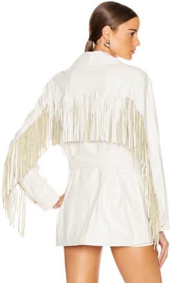 Andamane Cher Faux Leather Fringe Jacket in White | FWRD