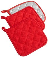"DII 100% Cotton, Machine Washable, Heat Resistant, Everyday Kitchen Basic, Terry Pot Holder, 7 x 7"", Set of 3, Tango Red"
