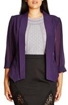 City Chic Drapey Chiffon Sleeve Jacket (Plus Size)