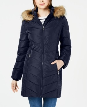 Tommy Hilfiger Petite Chevron Faux-Fur Trim Hooded Puffer Coat, Created for Macy's