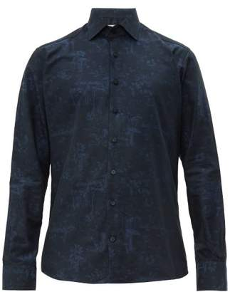 Etro Floral And Toadstool Jacquard Cotton Shirt - Mens - Blue