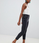 Asos DESIGN Petite Farleigh high waisted slim mom jeans in washed black