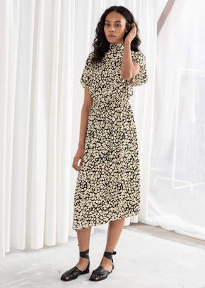 And other stories Floral Asymmetric Satin Midi Dress