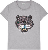 Kenzo Icon Embroidered Cotton-jersey T-shirt - Light gray