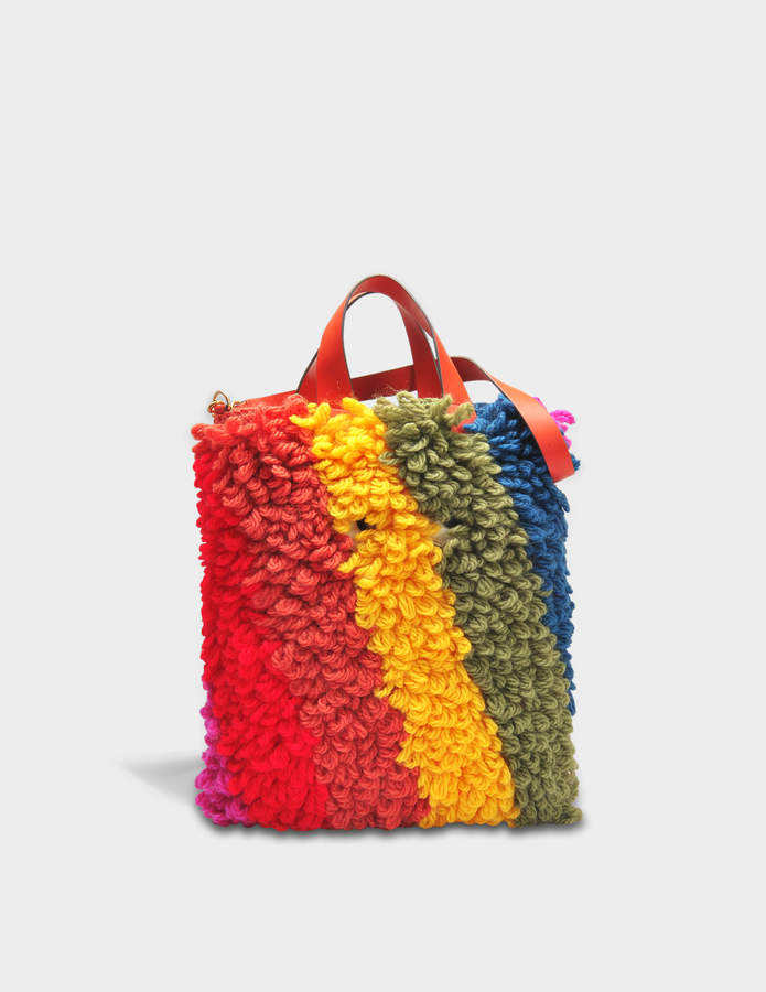 Anya Hindmarch Crossbody Creeper Bag in Multi Chunky Wool