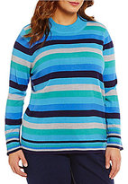 Allison Daley Plus Mock Neck Stripe Print Pullover Sweater