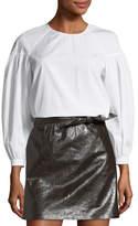 A.L.C. Baizen Crewneck Puff-Sleeve Cotton Top