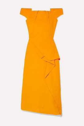 Roland Mouret Arch Off-the-shoulder Draped Crepe Midi Dress - Marigold