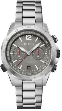 BOSS Dual-time chronograph watch in grey-plated stainless steel