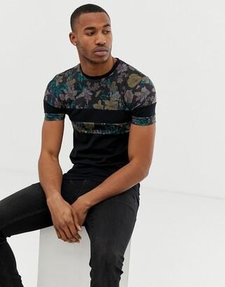 Asos Design DESIGN muscle fit t-shirt with floral print color block panels-Black