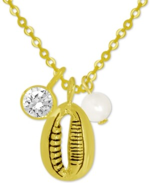 """Kona Bay Puka Shell & Freshwater Pearl (6mm) Pendant Necklace in Gold-Plate, 16"""" + 2"""" extender"""