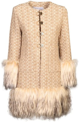 The Extreme Collection Faux Fur Beige Long Coat Desiderata