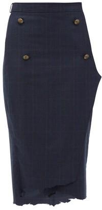 Vetements Distressed-hem Checked Wool Pencil Skirt - Womens - Navy