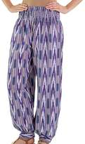 Jaspe Handwoven Cotton Harem Pants in Blues and Purples, 'Purple Arrows on Blue'