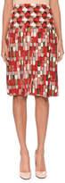 Bottega Veneta Geometric & Round-Print Knife-Pleat Silk Knee-Length Skirt