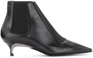 Furla Doris Model Ankle Boot In Black Smooth Leather