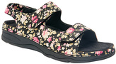 DREW Black Floral Dora Leather Sandal