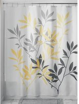 InterDesign Leaves Shower Curtain, Gray and Yellow, 72-Inch by 72-Inch