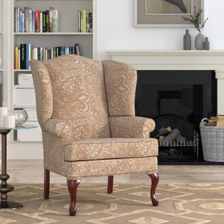 Elaina Cream Paisley Print Wingback Accent Chair by Greyson Living - See Product Description