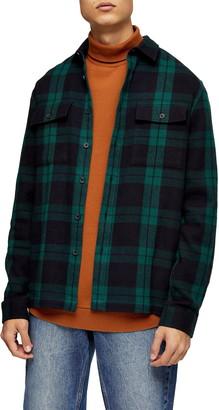 Topman Plaid Button-Up Flannel Shirt Jacket