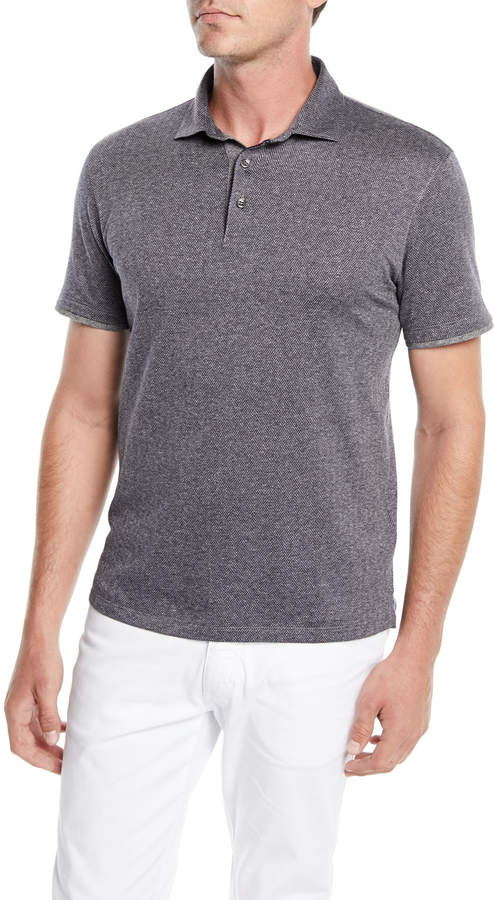 Ermenegildo Zegna Men's Herringbone Polo Shirt