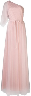 Marchesa One Shoulder Flutter Bridesmaid Gown