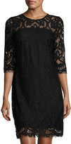 Taylor 3/4- Sleeve Lace Shift Dress, Black