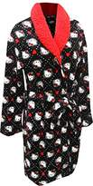 Hello Kitty Black Plush Robe with Sherpa Collar for Women