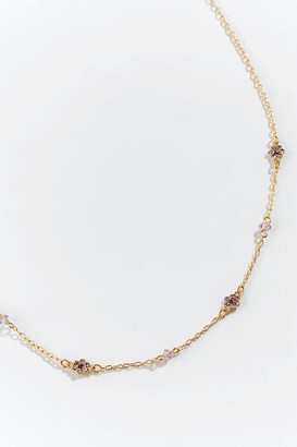 francesca's Aliza Flower Rosary Strand Necklace - Lavender