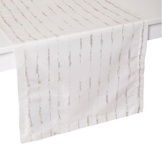 """Cannes Table Runner - White/Silver - Mode Living - 90""""L x 16""""W"""