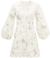 Zimmermann Zinnia Floral-applique Organza Mini Dress - Womens - Ivory Multi