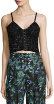 Haute Hippie Junk Sequin Cropped Bustier, Black