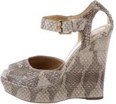 Bottega Veneta Python Wedge Sandals w