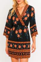 Flying Tomato Border Print Kimono Dress