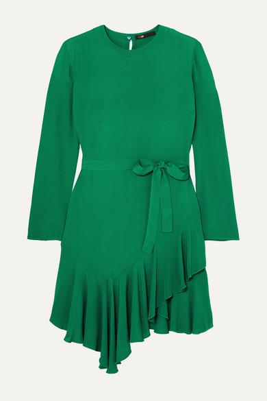Maje Romea Belted Asymmetric Ruffled Crepe Dress - Green