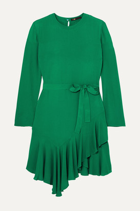 Maje Romea Belted Asymmetric Ruffled Crepe Dress - Green