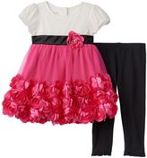 Nannette Toddler Girl Rosette Tulle Dress & Leggings Set