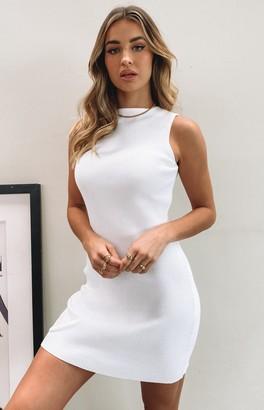 SNDYS Mish Ribbed Mini Dress White