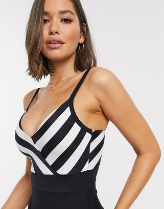 Pour Moi? Pour Moi High Line v neck control swimsuit in black and white