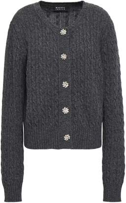 Markus Lupfer Crystal-embellished Cable-knit Wool Cardigan