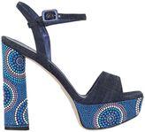 Le Silla 140mm Embellished Denim Sandals