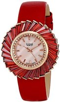Burgi Women's BUR114RD Swiss Quartz Crystal Accented Mother-of-Pearl Rose Gold Red Leather Strap Watch