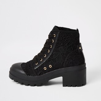 River Island Womens Black lace chunky ankle boots