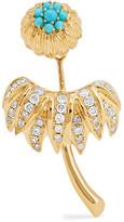 Yvonne Léon 18-karat Gold, Diamond And Turquoise Earring