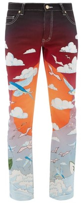 Casablanca - Speed Boat Club Cotton-denim Jeans - Mens - Blue Multi