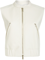 Diane von Furstenberg Buckley Leather Bomber Vest