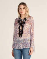 Giamba Feather Detail Floral Print Sheer Silk Top