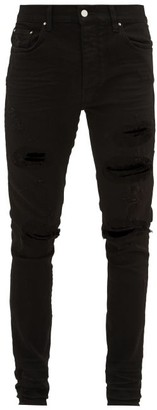 Amiri Trasher Plus Distressed Slim-leg Jeans - Mens - Black