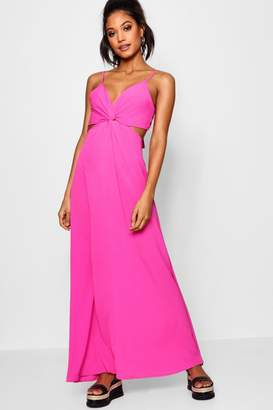 boohoo Knot Front Tie Back Maxi Dress