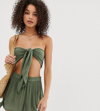 South Beach tie front beach co-ord in green